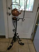 Tea Kettle Copper Wrought Iron Stand 44.5 H 1860-1890 Robert Todd Lincoln