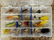 Twelve Used Vintage Plastic Fishing Lures With Tackle Box Lure Collection Lot 6