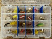 16 Used Vintage Plastic Fishing Lures With Tackle Box Lure Collection Lot 7