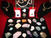 💎estate💎lg Natural Rough Gemstone Lot💎gold Penny Coin Charm+pearlsrings+ 🎁