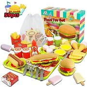Fast Food Toys Play Set,kitchen Pretend Accessories Toy,including Hamburger Ice