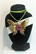 Betsey Johnson Brooch Pendant Gold Butterfly And Crystals A Free Leather Choker