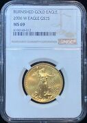 2006 W American Eagle 25 Dollar Burnished Gold Coin Ngc Ms 69
