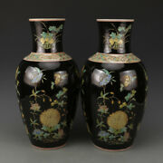 Chinese Old Pair Marked Black Plain Tricolored Flowers Pattern Porcelain Vases