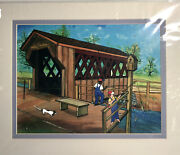 Maurice Cook Matted Signed Print Covered Bridge Boys Fishing Southern Folk Art