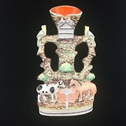 """Staffordshire Spill Vase Good Companions Horse Cow 13+"""" Very Tall Victorian 1860"""