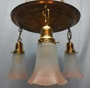 Antique Brass Pan Light Fixture 3 Arm Frosted Ruffled Glass Shades Pink Trim
