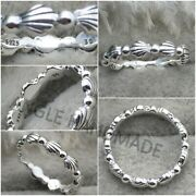 Original 100 S925 Sterling Silver Beaded Seashell Band Ring Clear Cz Beads 🕊
