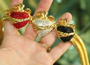 Judith Leiber Crystal Stretch Gold Belt Hearts Love Is King Red Black