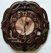 Wall Clock Stained Glass Wood Wooden Carved Oak Decor Large Gift Personalization
