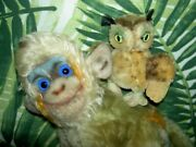 Group Of 3 Steiff Mohair Animals, Owl, Lion And Monkey Glass Eyes No Tags, Buttons