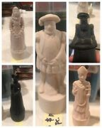 """5-beneagles Scotch Whiskey Bottle/chess Pieces""""the Thistle And The Rose"""" Porcelain"""