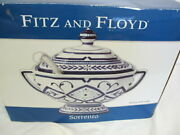 Fitz And Floyd Sorrento Soup Tureen With Ladle In Box Blue And White 2004