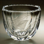 Faberge World Of Water Crystal Bowl Copper Wheel Engraved Russia 12/250 Signed