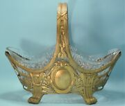 Antique French Reticulated Gilt Silver And Cut Glass Centerpiece Late 19th Century