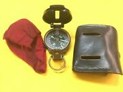 Vintage Hand Held Engineer Directional Compass With Leather Case