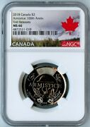2018 Canada Ngc First Releases Ms66 100th Anniversary-armistice 2