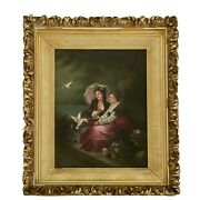 19th C. Oil On Canvas Two Ladies With Doves