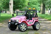 First Drive Jeep Truck - 12v Dual Motor Ride-on Car With Remote Control- Pink