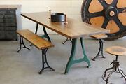 Vintage Antique Industrial 8and039 Dining Table Butcher Block Cast Iron Legs 1920s