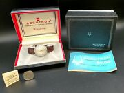 Bulova Accutron 1960's Vintage Complete Set With Outer Box, Inner Box And Papers