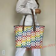 Nwt Coach Rainbow Signature Chalk Canvas Brown Leather Reversible Tote Bag 2463
