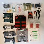 New Red Medical First Aid Kit Ifak Rip Away Molle Bag - Fully Stocked