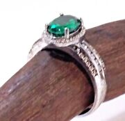 Vintage Green Emerald Diamond Silver S925 Signed Jewelry Rings - Size 8