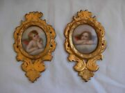 Pair Of Antique French Miniature Paintings On Porcelain,cherubs,19th Century.