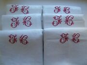 French Set Of 6 White Cotton Table Linens F C Red Monogram Antique Vintage