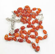 Rare, Victorian Sterling Silver Butterscotch, Honey Amber Rosary