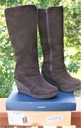 Nib Bearpaw Brighton Chocolate Brown Suede Wedge Tall Boots Women's Size 9 New