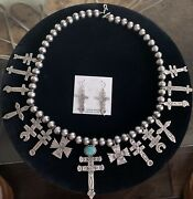 Lorenzo James - Navajo - Cross Necklace And Earring Set Sterling Silver