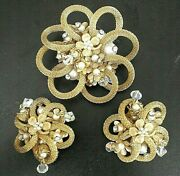 Rare Vintage Unsigned Miriam Haskell Mesh Brooch Faux Pearl And Rhinestone Set