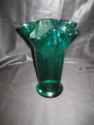 Vintage Rossini Empoli Glass Flower Vase Emerald Green Wavy Top Made In Italy