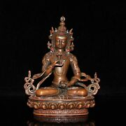 Chinese Antique Brass Inlay Coral Turquoise King Kong Buddha Statue Statue Wx560