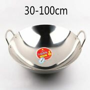 Kitchen Wok Pan Round Stainless Steel Cookware Gas Cooker Non-coating Saute Pans