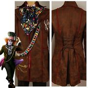 Alice In Wonderland 2010 Film Johnny Depp Mad Hatter Cosplay Costume Suit Outfit