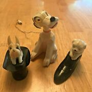 Vtg Lot Celluloid Plastic Dogs Bobble Head W/ Magnetic Hot Dog, In Shoe, Top Hat