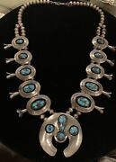 Navajo Vintage Beautiful High Grade Persian Turquoise Squash Blossom Necklace