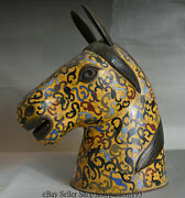 13 Old China Copper Cloisonne Enamel Animal Zodiac Year Horse Head Bust Statue
