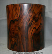 9.2 Old Chinese Dynasty Palace Redwood Carving Red Round Brush Pot Pencil Vase
