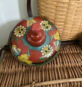 Vintage Spinning Top By Ohio Art Wood Handle Works Muted Colors