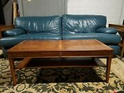 Vintage Antique Mahogany Midcentury Leather-top Two-tier Coffee And Side Tables