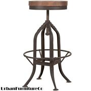 Industrial Rustic Style Distressed Antique Vintage Bar Stool Chair Wood And Steel