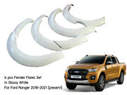 6 Glossy White Smooth Fender Flares For Ford Ranger Wildtrak 18-20 Px3 My2019