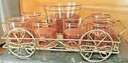 Vintage Imperial Glass Co. Highball Glasses Caddy And Ice Bucket W/ 22k Gold