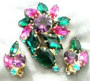 Vintage Juliana Multi-colored Rhinestones Brooch With Matching Clip Earrings