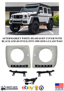 Aftermarket Headlight Cover Frame Bezel Black Led Drl Fit 89-18 G Class W463