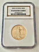 2003- W 1/2 Oz. 25 Proof Gold American Eagle Ngc Pf-69 Ucam, See Other Gold